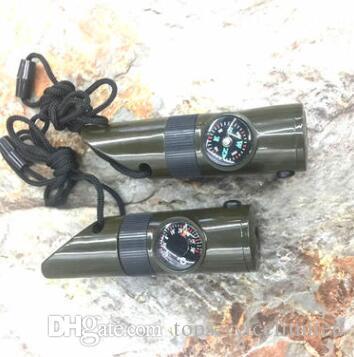 Горячий многофункциональный свисток 7 в 1 выживания свисток открытый выживания свисток фонарик компас термометр лупа Бесплатная доставка