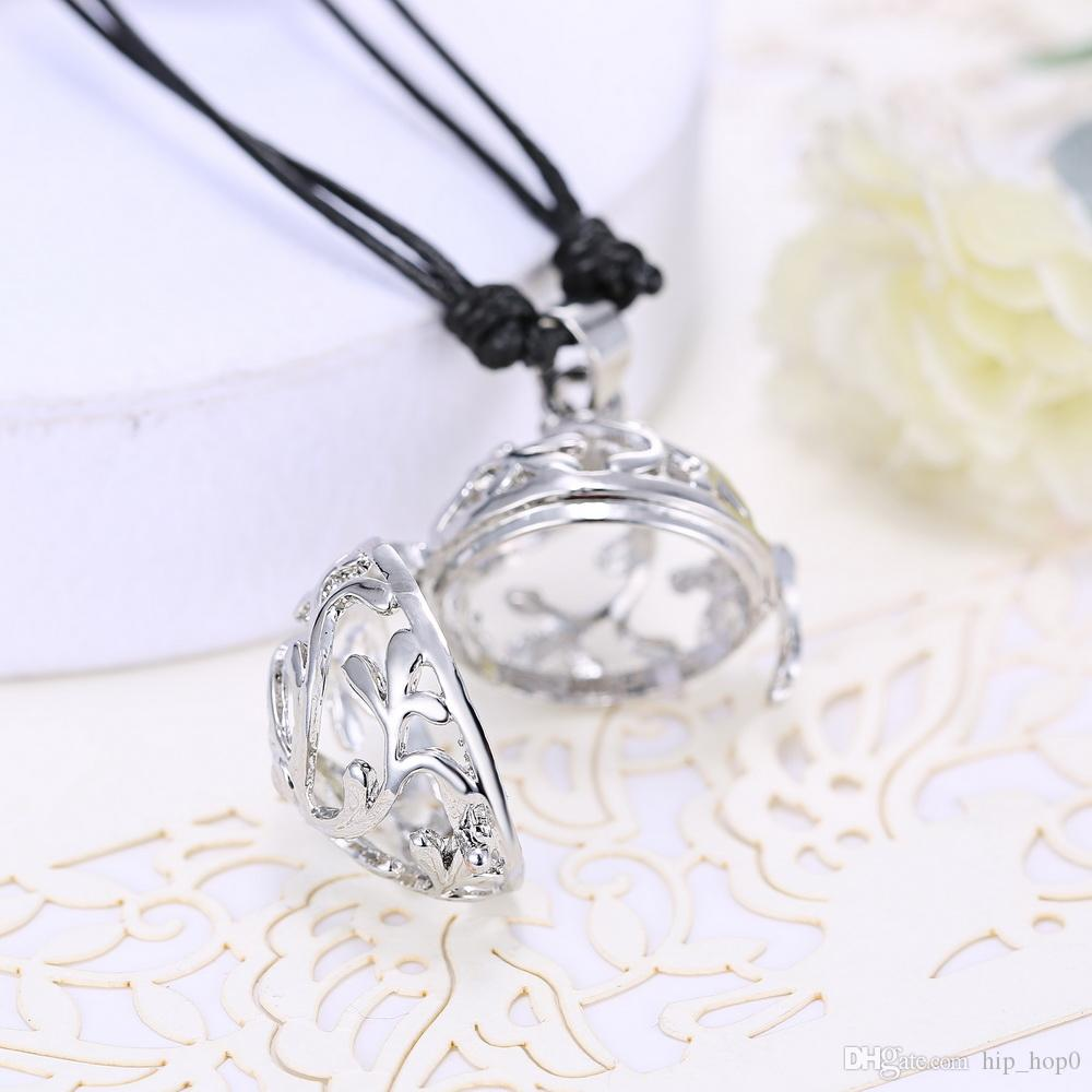 Angel Callers Sound Chime Love Plant Flower Hollow Locket Pendant Necklace With One Chime Ball 2016 Fashion Mexican Bola