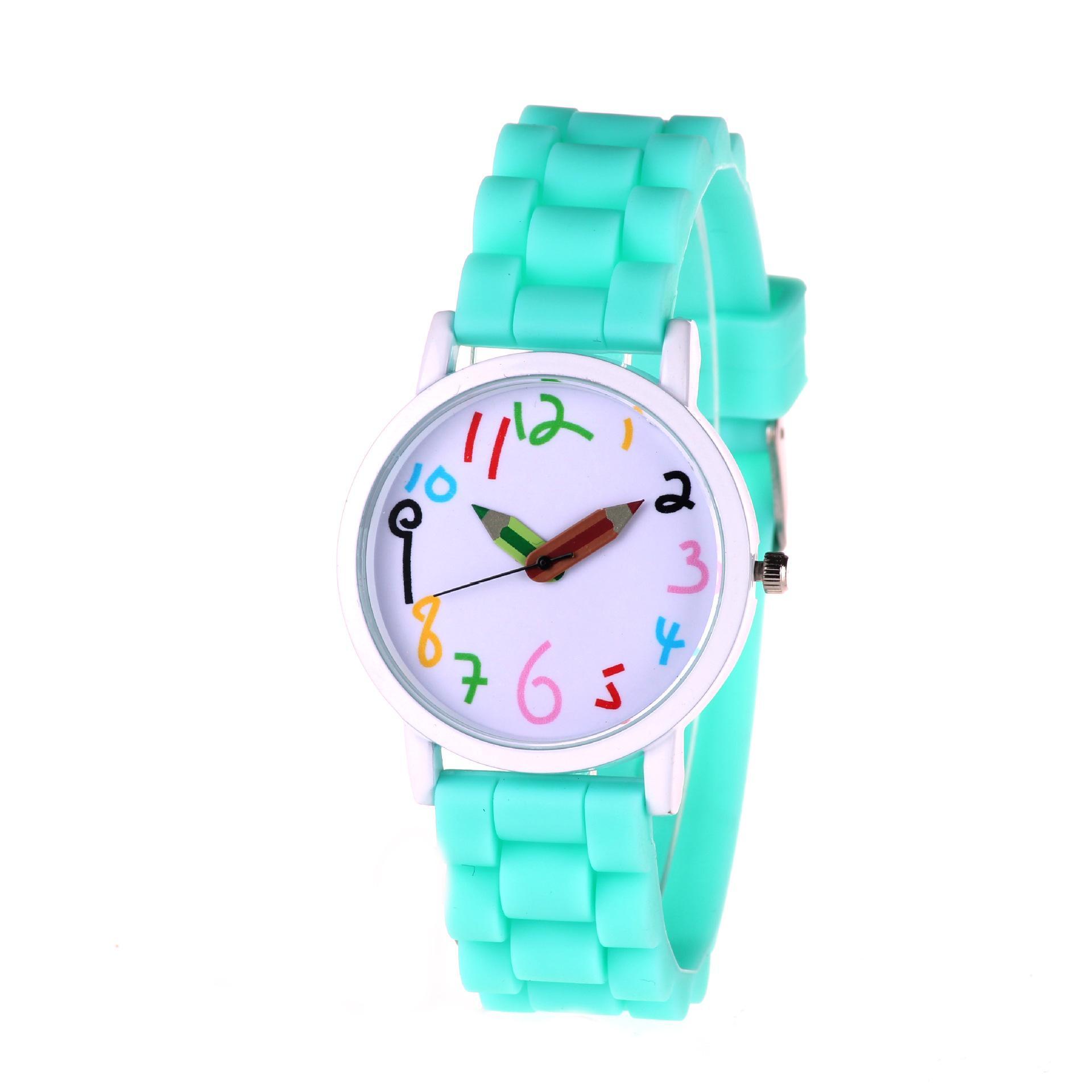 Genf Kunstleder Uhr Beliebte Einfache Mode große Zifferblatt Silikon Uhr Studenten Schriftart kreative Kinder Uhr Candy Farbe Bleistift Punkt