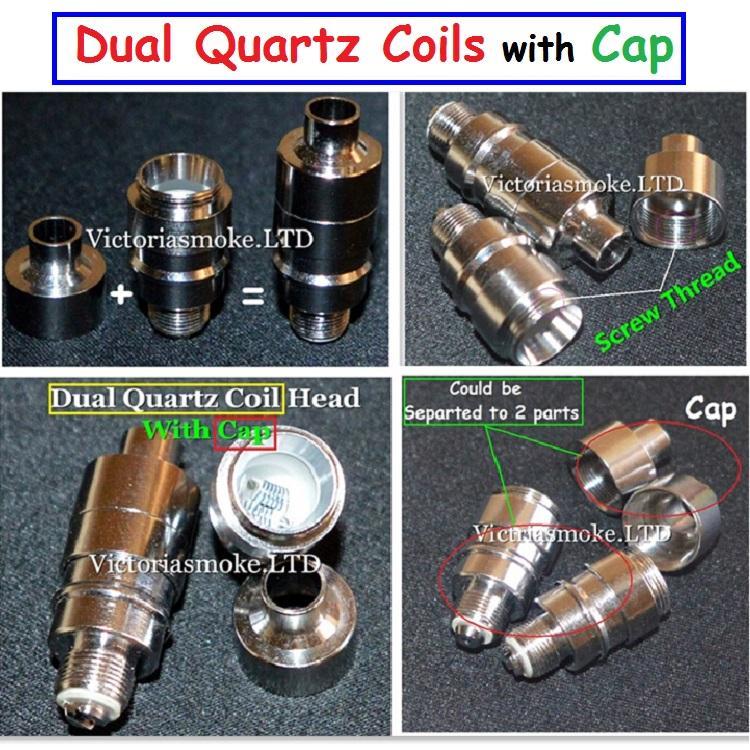 New Hot Sale Dual Quartz Cap Coil Head for Glass Globe Atomizer Glass Bulb  Atomizer Dual Wax Coil Head Dual Coils Wax Vaporizer Coils eCigs