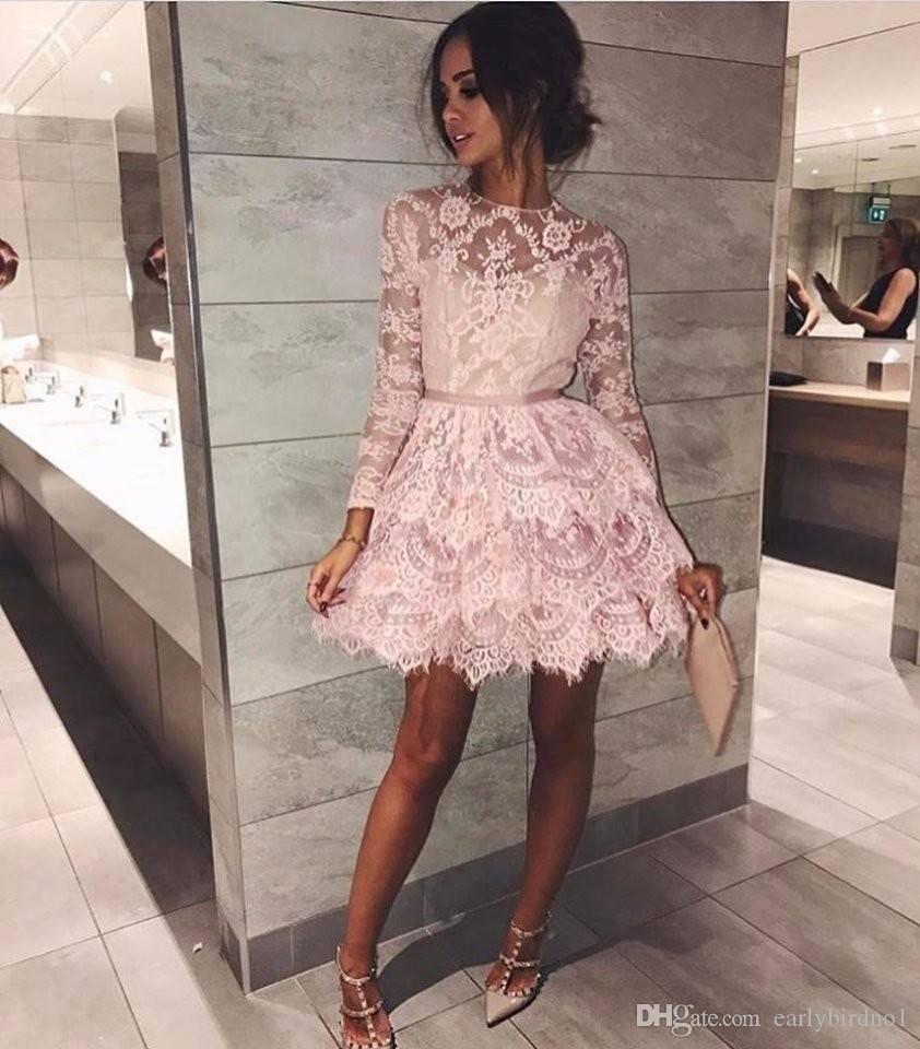 2018 Pink Crew Neck Lace Short Cocktail Dresses With Sash Appliques Long Sleeves Mini Homecoming Dresses Girls Party Gowns Cheap Cheap Black Cocktail