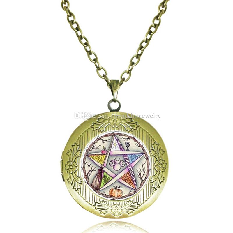 Pentagram Locket Necklace Five Elements Plant Life Tree Pendant Triple Moon Goddess Jewelry Wiccan Pagan Pentacle Bronze Photo Frame Gifts