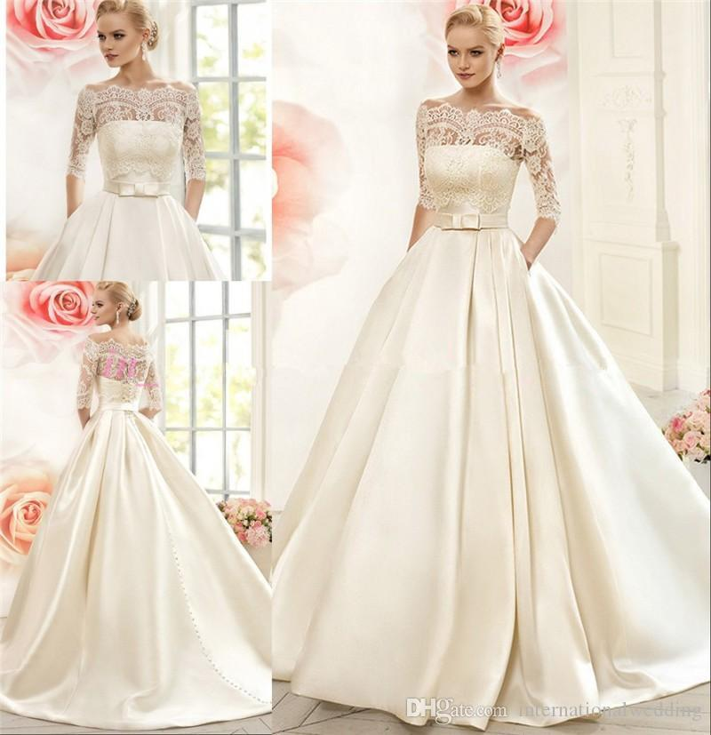 Wedding Gown With Pockets: 2016 Naviblue Wedding Dresses With Pockets Off Shoulder 1