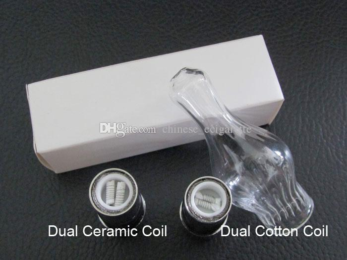 Cannon Vase Coil Glass Globe Atomizer Dry Herb Vaporizer Replacement Wax Vapor Tank with Metal Ceramic Coil Head for EGO T Evod Battery
