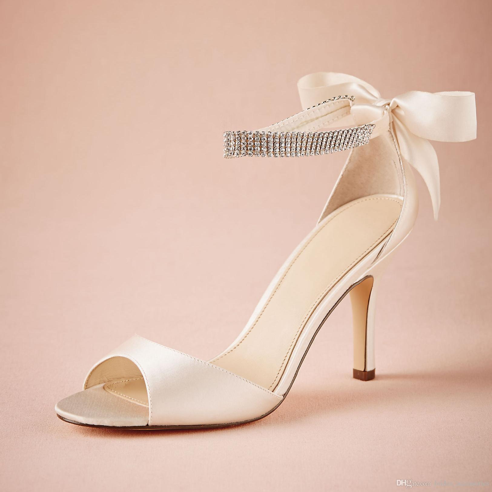 ivory satin wedding shoes bowtie at back rhinestones ankle strap