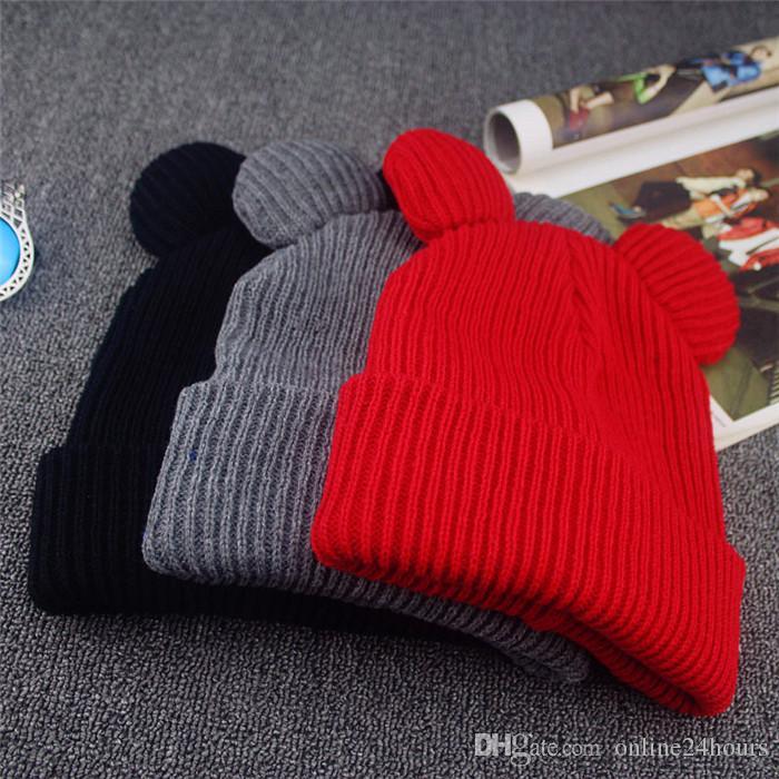 Hat Female Winter Caps Hats For Women Devil Horns Cat Ear Cute Crochet Braided Knit Beanies Warm Children Cap Hat Homme Gorro