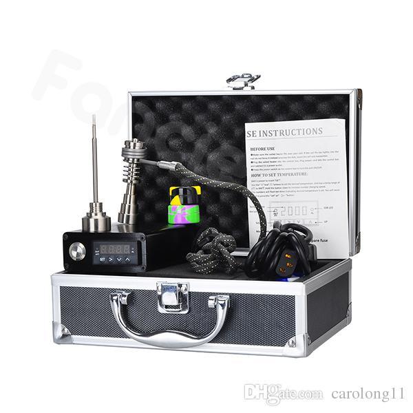 Smart Mini Électrique E Dab Ongles Boîte Complète Kit Dry Herb Vaporisateur En Aluminium Cas Gr2 Titane Ongles Carb Cap Fancier F710