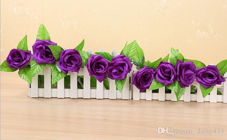 2,45 m lange Rose reben Künstliche Rose Garland Silk Blumenrebe für Home Hochzeit Garten Dekoration