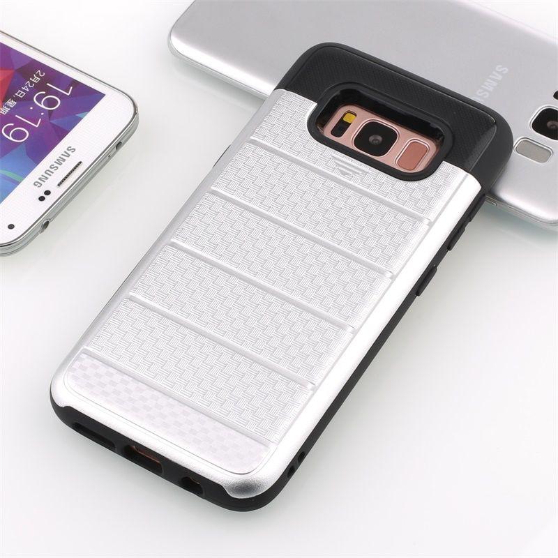 Para iphone 6s 7 plus tpu pc com slot para cartão de crédito casos de telefone celular capa rosa de ouro rosa