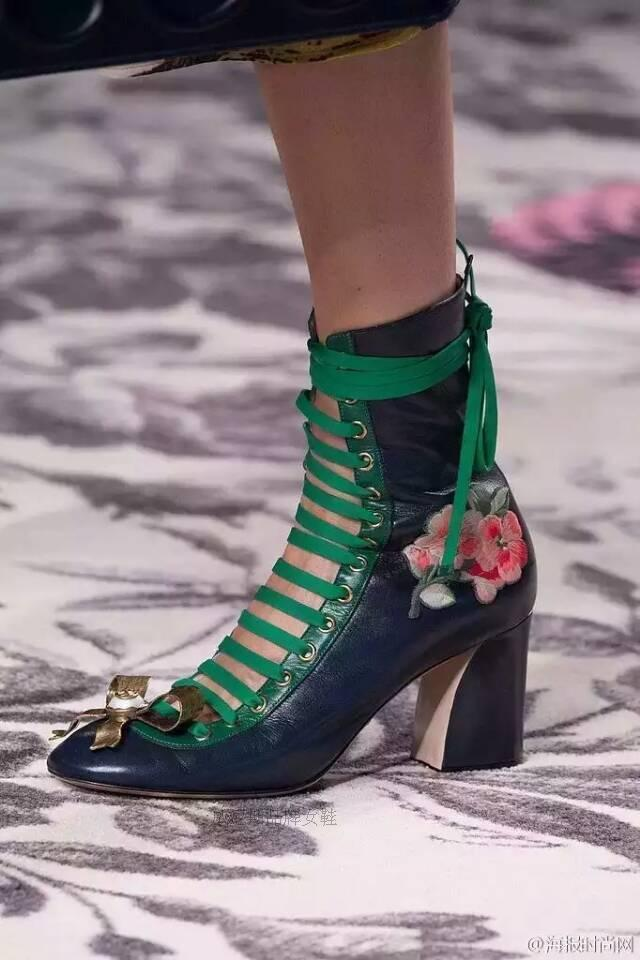 fashionville* u616 34/40 genuine leather embroidery flower laced thick heel boots pearl bow luxury designer runway fashion 2016 navy white g