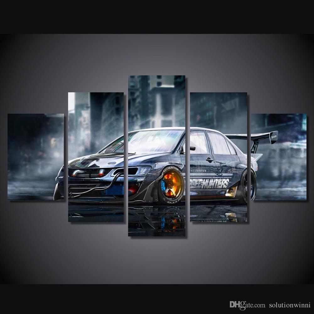 voiture modifiée Imprimé HD Peinture photo de l'affiche d'impression décor de la pièce en toile Impression sur toile art toile noir et blanc