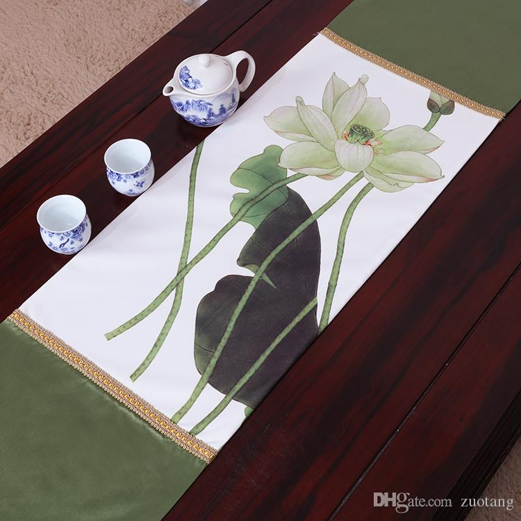 Allunga classico Lotus Runner lusso stuoie di alta qualità in stile cinese di seta broccato sala da pranzo tovaglia tovaglietta 230x33 cm
