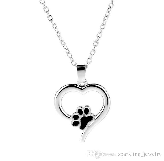 Wholesale new heart dog cat paw necklace print heart pendant wholesale new heart dog cat paw necklace print heart pendant necklace footprint jewelry memorial animal keepsake jewelry for pet lover mens necklaces silver aloadofball Image collections