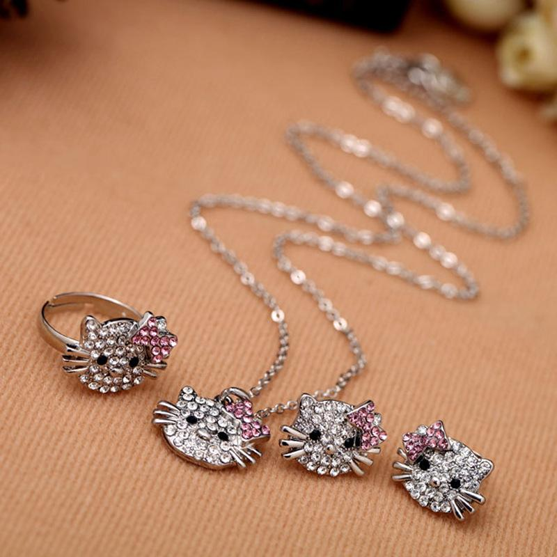 Diamond Necklace with Kitty cat pendant, with alloy material, very cheap but hign quality,