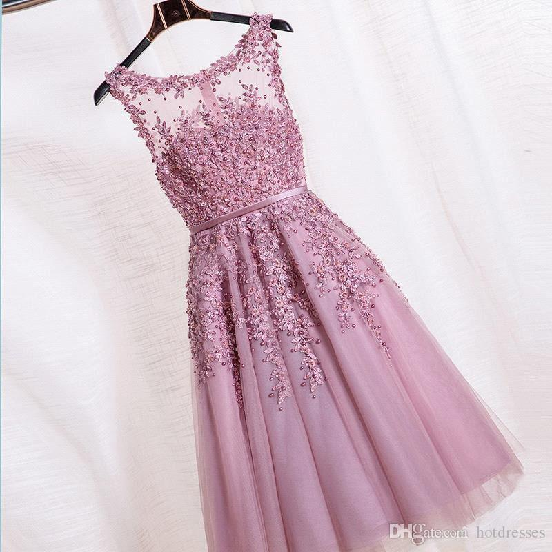 ... 2016 Hot Short Bridesmaid Dress Cheap Knee Length Lace With Tulle Pink  White Robe Demoiselle D e1ca2b421