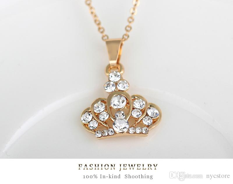 Conjunto de joyas de 4 piezas Collar de corona de cristal austriaco lleno de oro de 18 quilates Collar + pendientes + pulsera + anillo Conjunto de joyas para boda