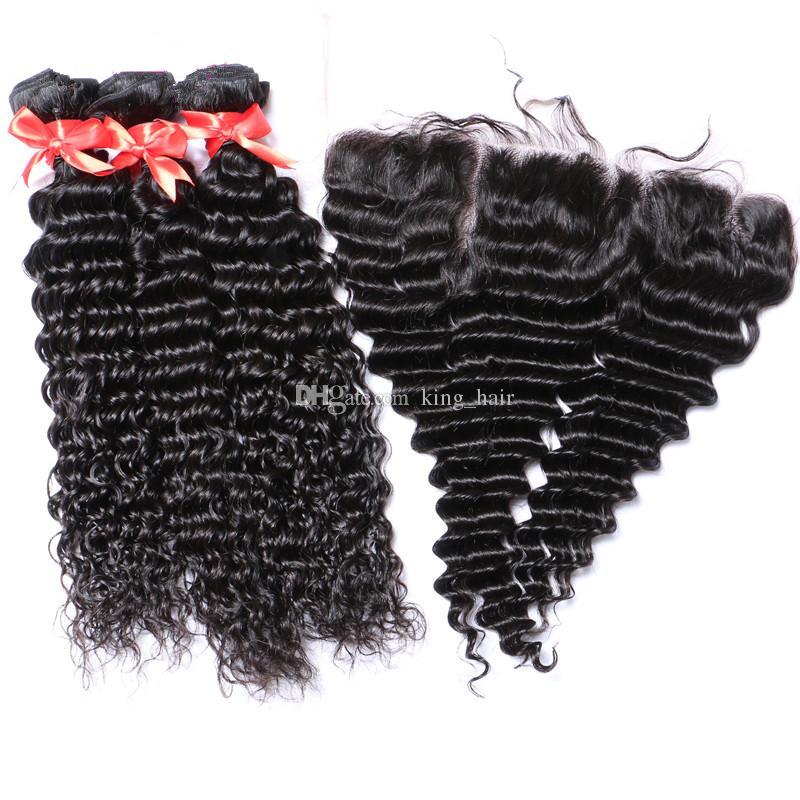 موجة عميقة الأذن إلى الأذن المقدمات الدانتيل الكامل مع حزم الشعر / الشعر البشري البرازيلي مع الدانتيل المقدمات رخيصة الثمن