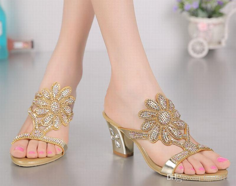 a10e014b0f87b4 Big Size 34-44 Hot 2016 New Summer Fashion Rhinestone Flowers Women Shoes  Square Heel Ladies Sandals Shoes Thick Heeled Crystal Slippers Rhinestone  Flip ...