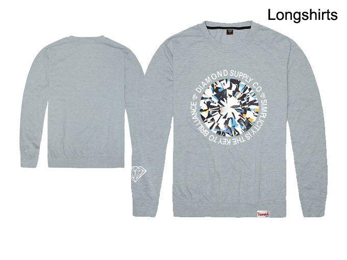 Anacardo paisley para hombre hip hop camiseta Diamond Supply camisas de manga larga tee tops camiseta de algodón de alta calidad sudaderas delgadas