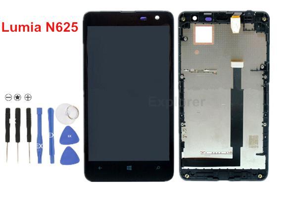 LCD Display + Touchscreen Digitizer Assembly mit Rahmen für Nokia Lumia 625 N625 LCD-Montage Test bestanden 100% Original neue viel