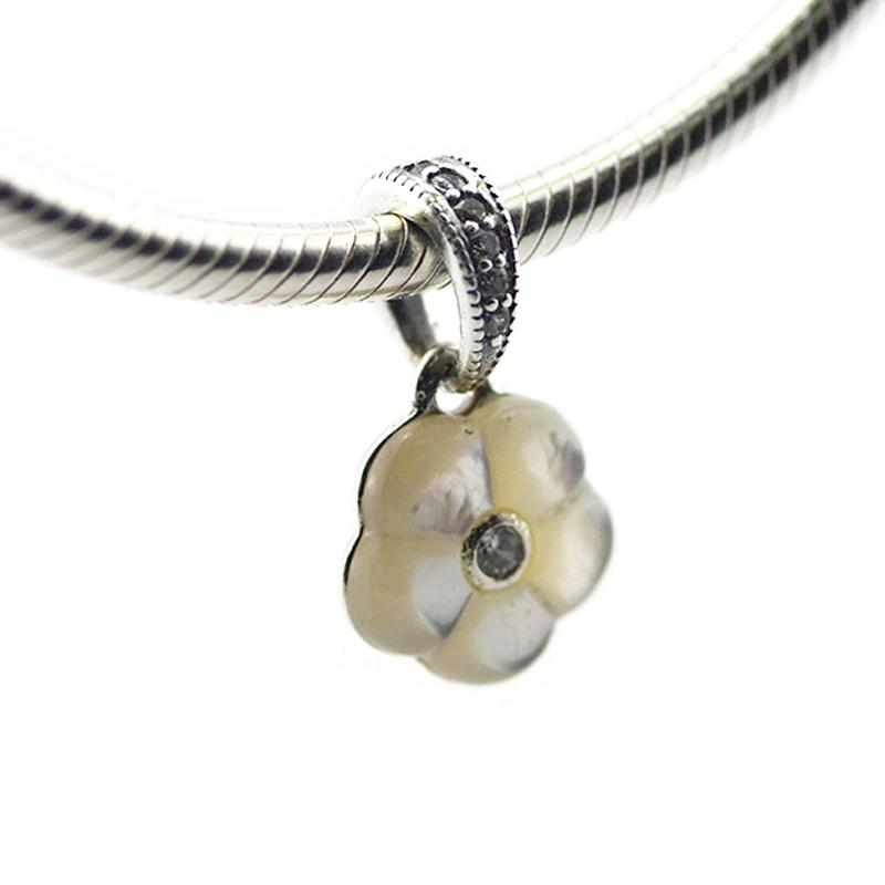 Loose Beads Pendant Authentic 925 Sterling Silver beads Luminous Florals, Mother-Of-Pearl & CZ Fits for Pandora Bracelets 2016 mother's day