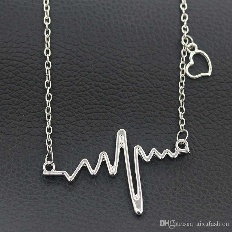 Nuova collana pendente a onde di frequenza Collana in oro nero pendente choker gioielli donne pendente carino dichiarazione delicata collane