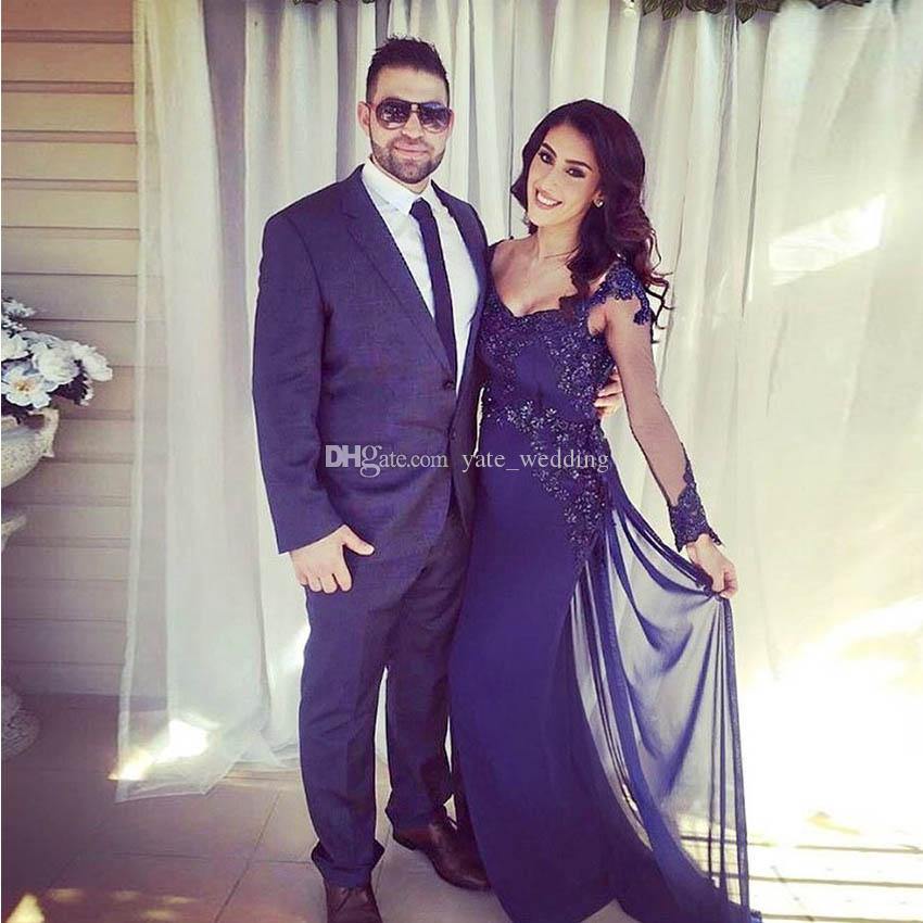 b54a9072fdc Navy Blue Maternity Evening Dresses Scoop Long Sleeves Satin Chiffon Dark  Navy Backless Pregnant Evening Gowns Evening Dresses On Sale Evening Gown  Dresses ...