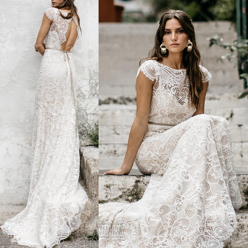 2017 Embroidered Bohemian Bridal Dresses Cap Sleeves Vintage Lace ...