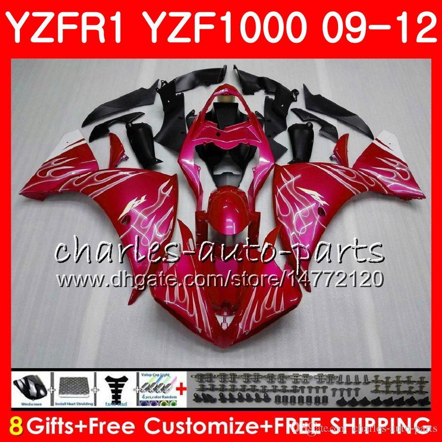 Body For YAMAHA YZF 1000 R 1 Pink flames YZFR1 09 10 11 12 Bodywork 85NO37 YZF1000 YZF R1 2009 2010 2011 2012 YZF-1000 YZF-R1 09 12 Fairing