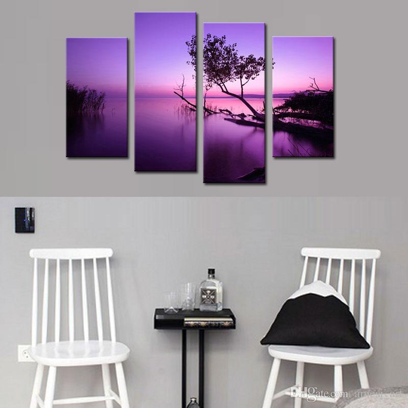 Purple Lake Canvas Print Panels Landscape Paintings on Canvas wiht Wooden Framed Wall Art Ready to Hang for Home Decor for Gifts