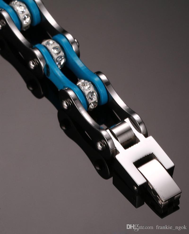 Homens de Moda de Aço Inoxidável Strass Pulseira de Correntes De Bicicleta Motociclista Cuff Pulseira Pulseiras Moda Jóias Brace rendas Azul / Prata