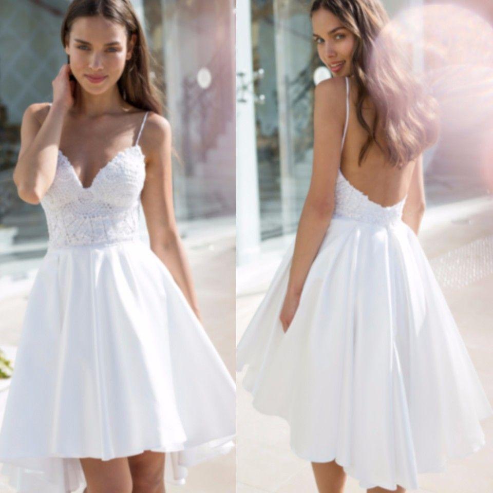 Vestido de casamento curto sexy 2017 sem encosto branco curto alto baixo vestido de noiva de cetim com decote em v sem encosto vestidos de casamento curtos com alças