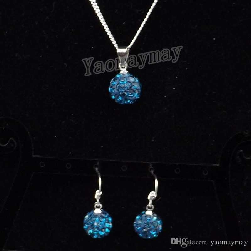 Wholesale Peacock Blue Disco Ball Pendant Earrings And Silver Plated Necklace Crystal Jewelry Set For Christmas