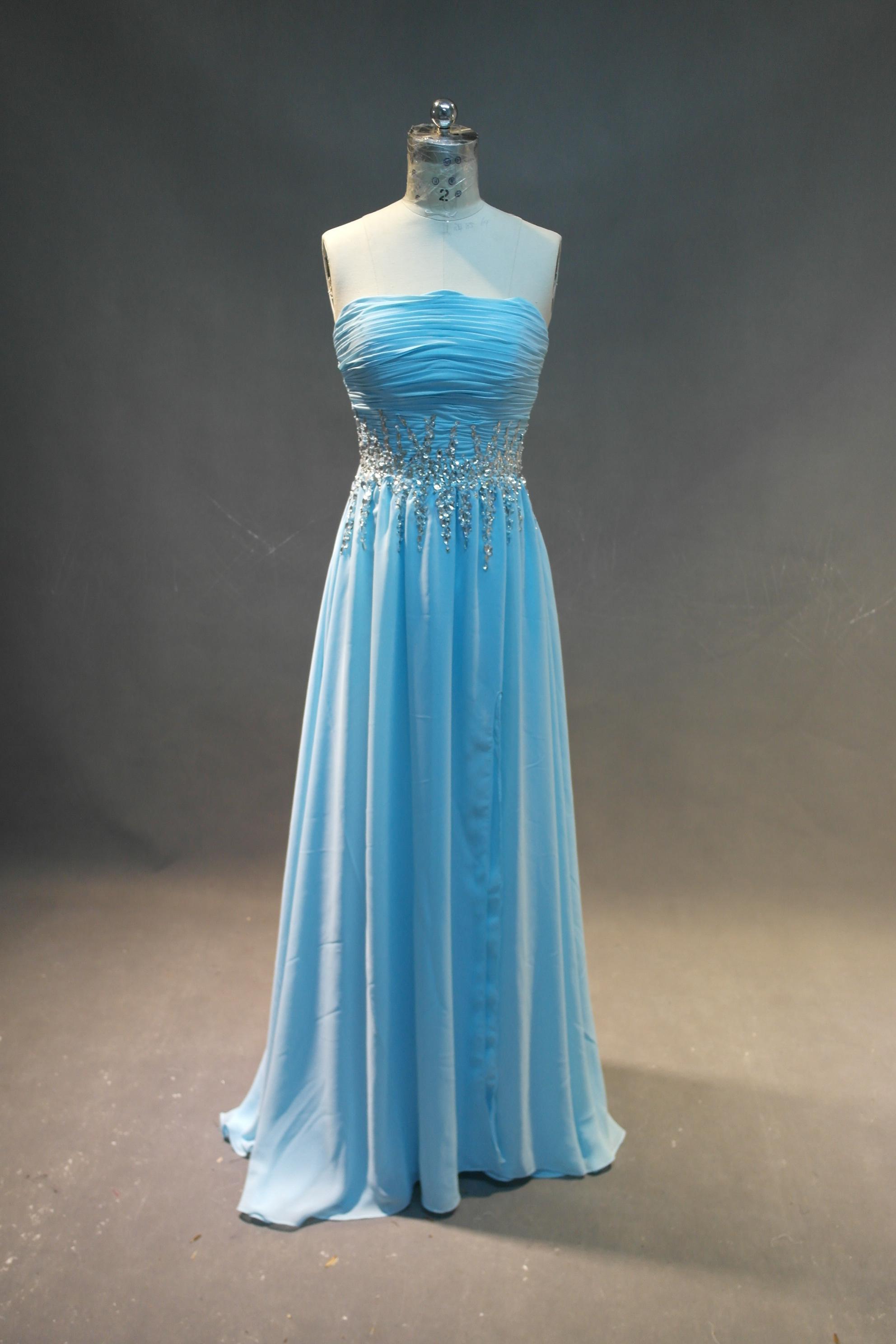 크리스탈 2016 새로운 분할 프롬 가운 가운 길이 파티 드레스와 Strapless 긴 쉬폰 댄스 파티 드레스