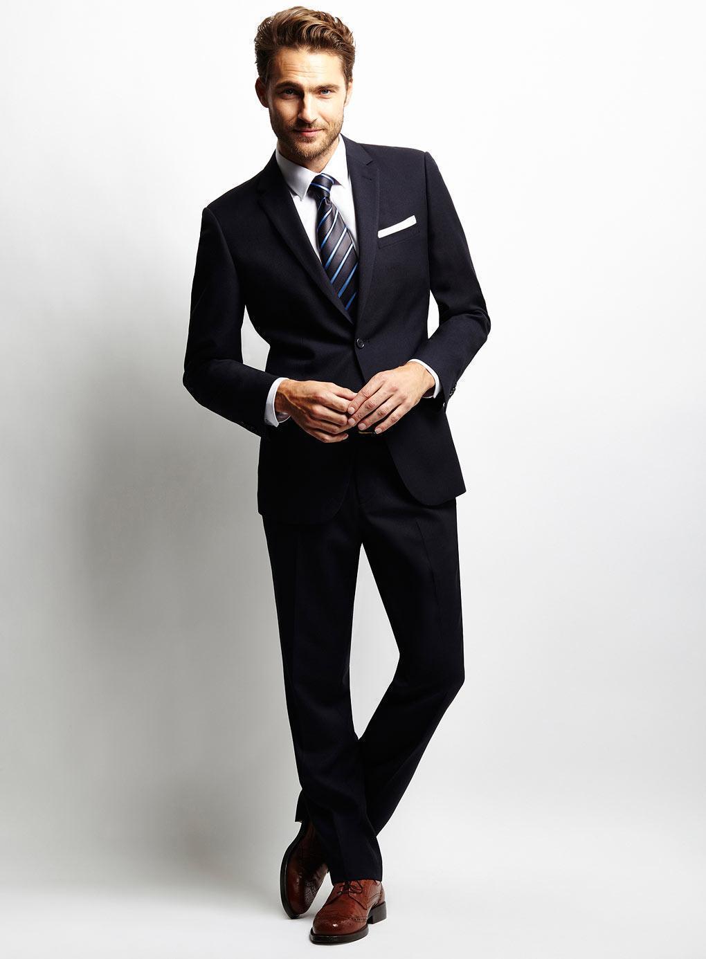 Custom Made Black Wool Blended Wedding Suits Groom Tuxedos Wedding Suits Business SuitsJacket+Pants