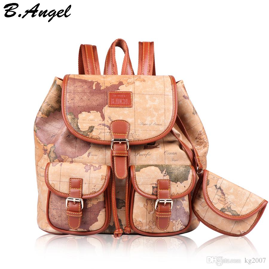 Fashion vintage high quality world map backpack women backpack fashion vintage high quality world map backpackg gumiabroncs Gallery