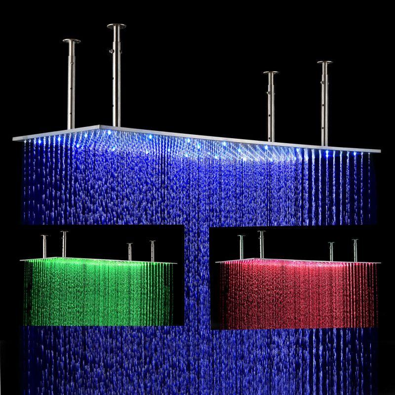 Luxury Bathroom LED Shower Head Accessories Brushed SUS304 400 ...