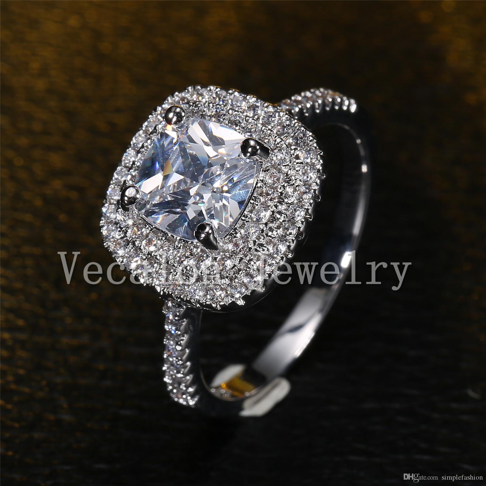 Vecalon 2016 modo dell'anello di nozze design fidanzamento le donne 3CT anello di diamante simulato Cz argento 925 femminile Banda