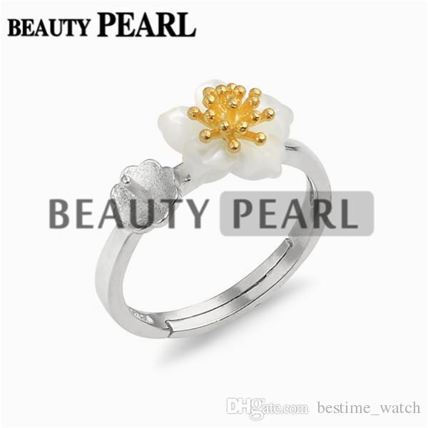 Bulk of Ring Settings 925 Sterling Silver Finding for DIY Jewellery White Shell Flower Ring