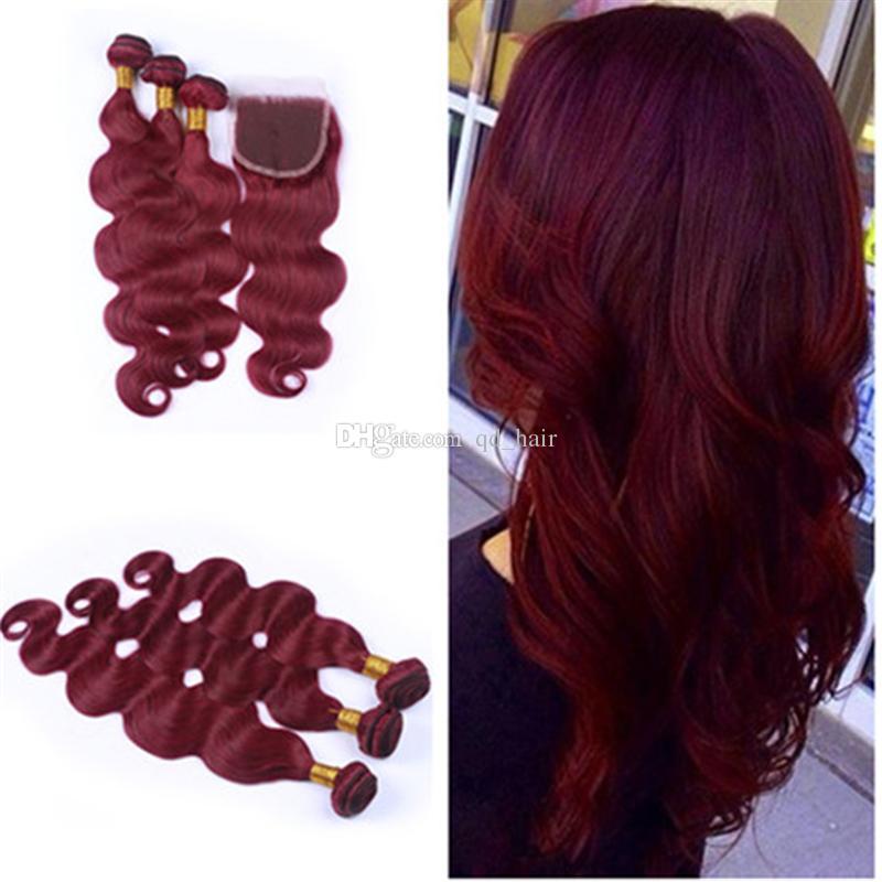 Saf Renk # 99J Şarap Kırmızı Renk Saç Dantel Kapatma Işlenmemiş Brezilyalı İnsan Saç Demetleri Ile Üst Dantel Kapatma Ile 4 adet / grup