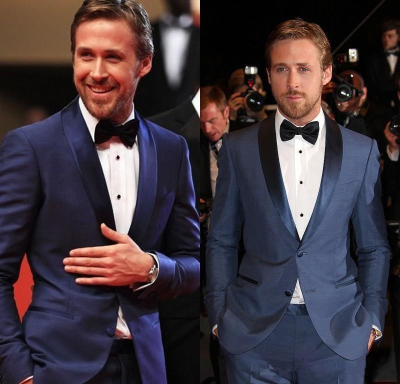 Azul Slim Fit Marinha Noivo Smoking xaile lapela Dois botões Best Men Groomsmen Wedding Ternos dos homens para Prom Party jacket + pants