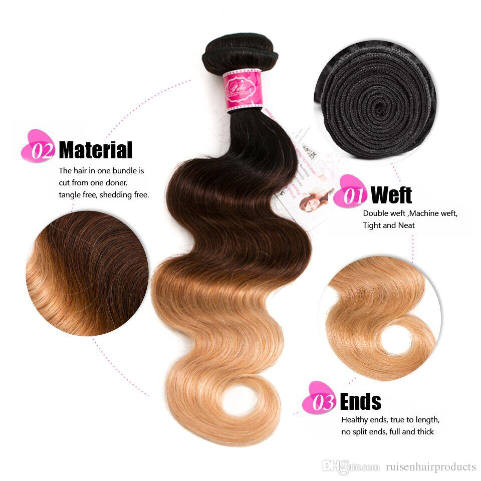 Brazilian Ombre Body Wave Human Non Remy Hair Bundles With Closure Color 1B/4/27 10 Inches to 26 Inches Extensions 4 Bundles