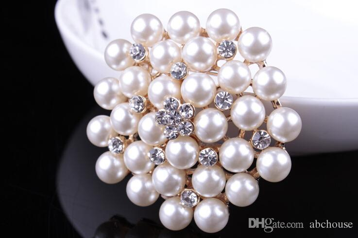Vintage Silver Tone Rhinestone Crystal Diamante and Faux Cream Pearl Cluster Large Bridal Bouquet Pin Brooch