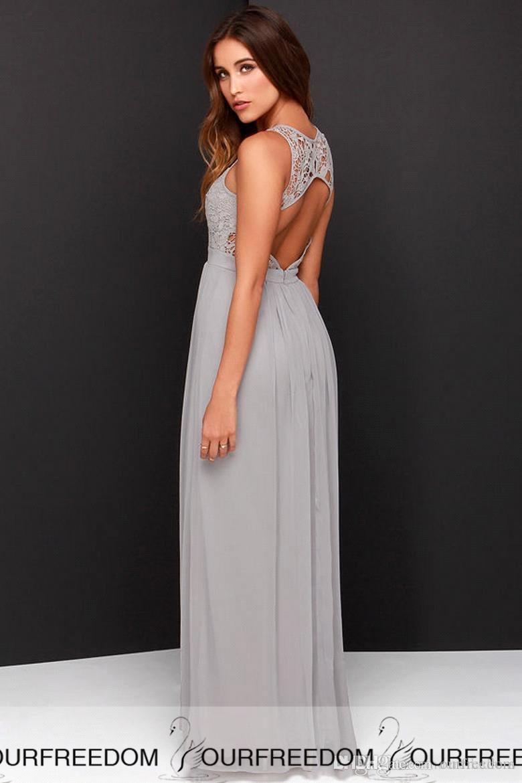 Chiffon Long Bridesmaid Dresses 2019 Cheap Plus Size Bridesmaid Dresses Custom Made See Through Back Blue Gray Bridesmaid Gowns