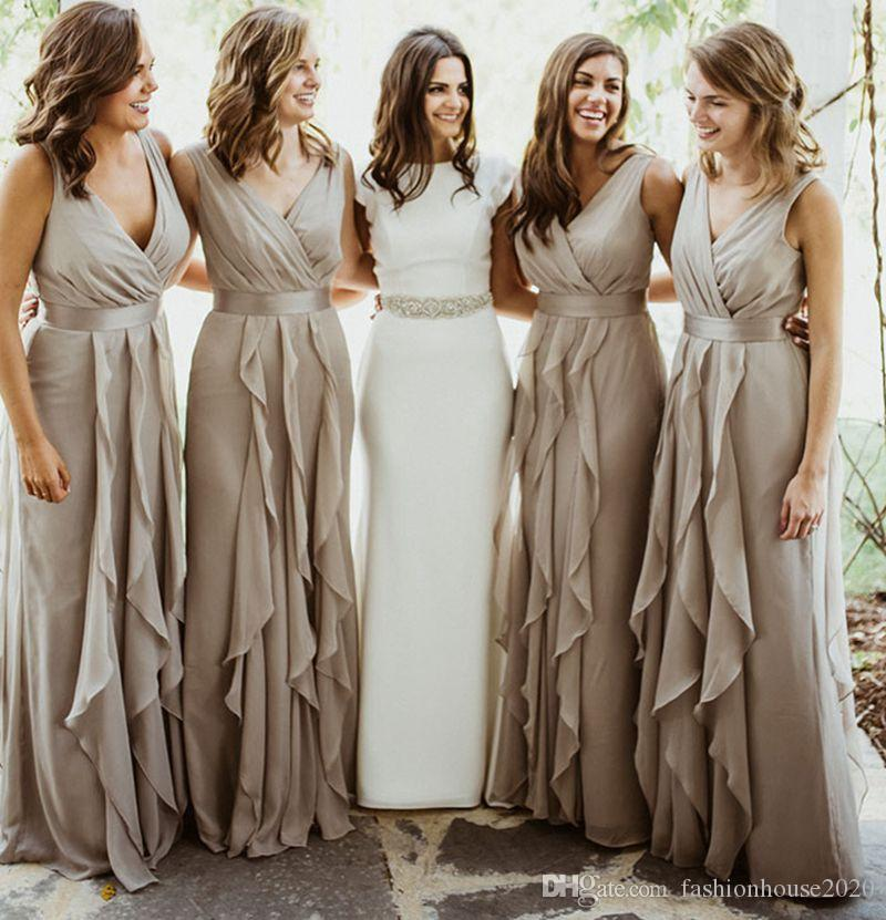Silver Grey Chiffon Country Bridesmaid Dresses Long V Neck Pleated Floor  Length Beach Bridesmaids Dress Wedding Guest Gowns Mocha Bridesmaid Dresses  Modest ... 6074bc5b0924