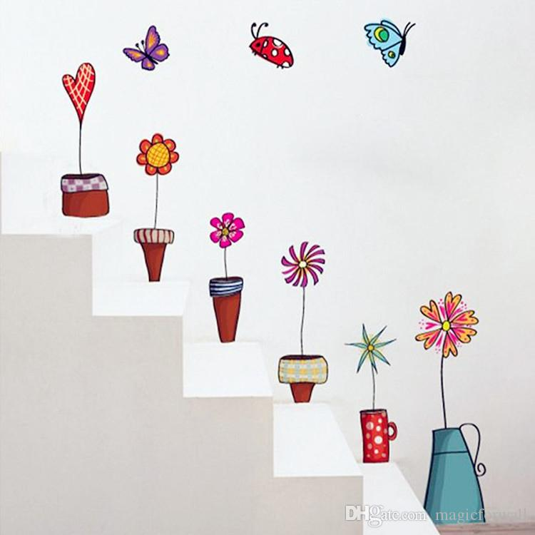 Cartoon Hand Drawing Pot Plant Flowers Wall Stickers Bonsai Butterfly Wall Border Decals Bathroom Glass Window Wall Poster Mural Wall Paper