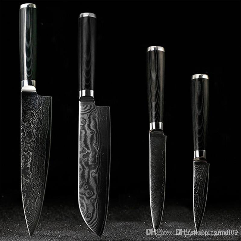 D058 Findking Japanese Damascus Knives Set 8 Inch Chef Knife 75 Santoku 5 Utility 35 Paring Best Kitchen For