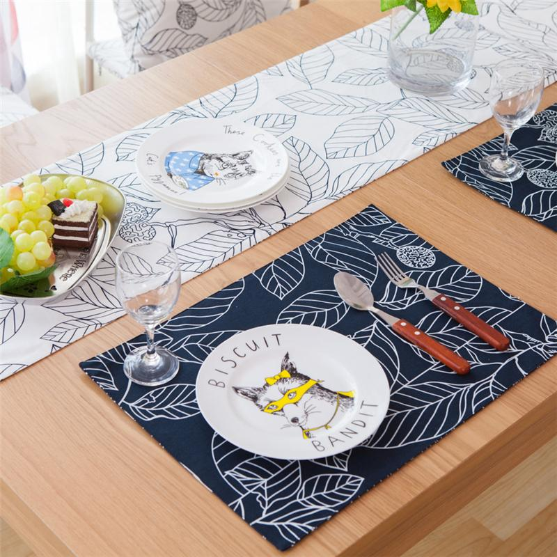 Wholesale Pastoral Cloth Table Mat Stick Figure Leave Cotton - Table pad manufacturers