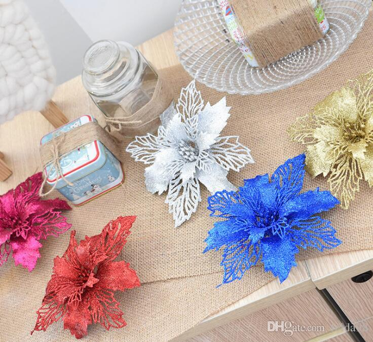 Plastic Simulation Christmas Glitter Hollow Flower Wedding Artificial flowers Valentine's Day Decoration G1087