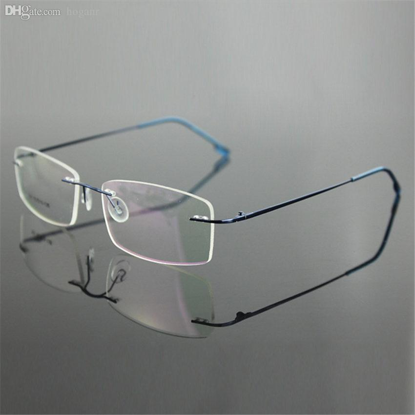 636b896853 2019 Wholesale Classic Mens Pure Titanium Rimless Glasses Frames Myopia  Optical Frame Ultra Light Titanium Business Frameless Eyeglasses Frame From  Hoganr